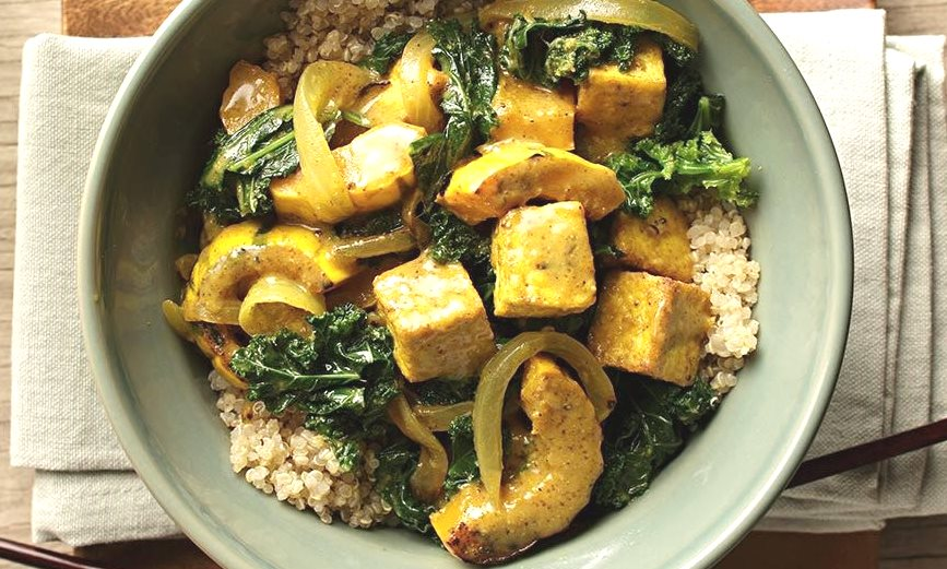 Courge Delicata et tofu au curry